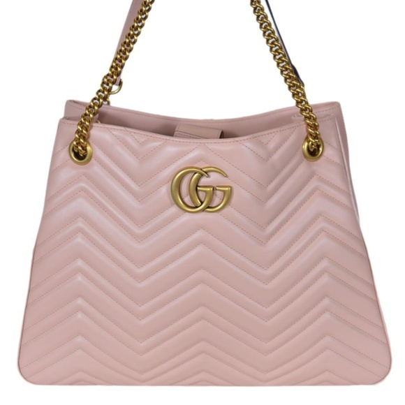 Gucci 453569 Pink Chevron Leather Marmont Purse b1a2cd2d1c465